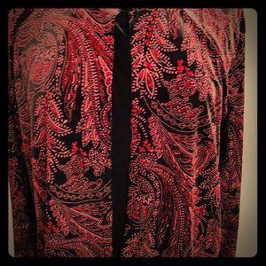 Ladies Red and Black Sparkling Velvet Top